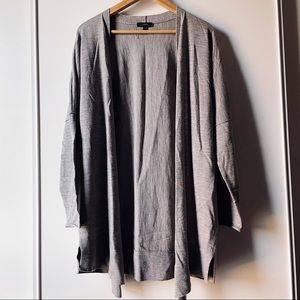 J Crew grey merino wool high low open cardigan